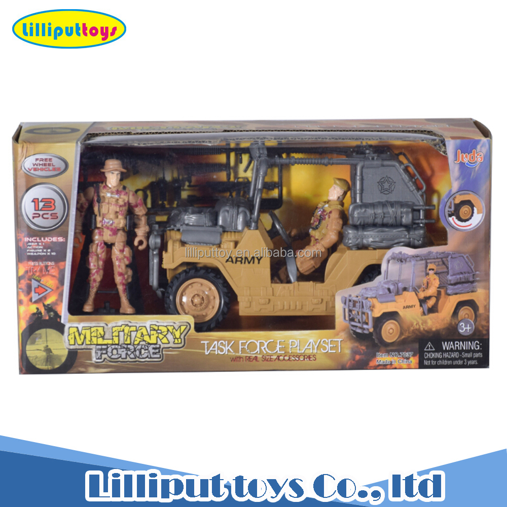 Free wheel military truck army solider and accessories toy set