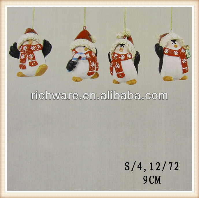 Polyresin hanging christmas penguin ornaments decoration