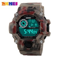 new product for lady army Camouflage led clock digital watch men outdoor 50m waterproof dive sports military skmei 1019 watch