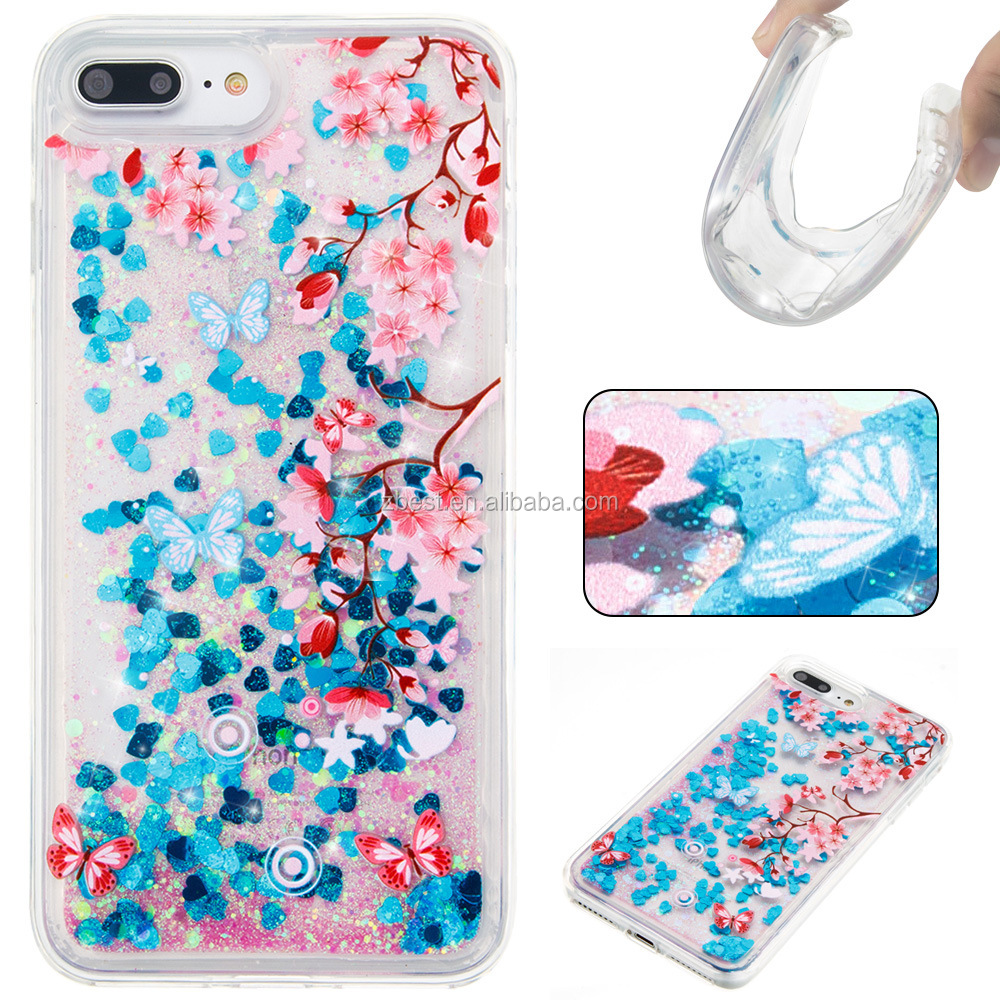 For iphone 8 Soft TPU Phone Case Shining Glitter Liquid Flow Quicksand case for iPhone 8plus case
