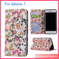[Soar]Newest Luxury Flower Bling Design Leather Flip Case For Iphone 7, Magnetic Wallet Stand Phone Case For Iphone 7