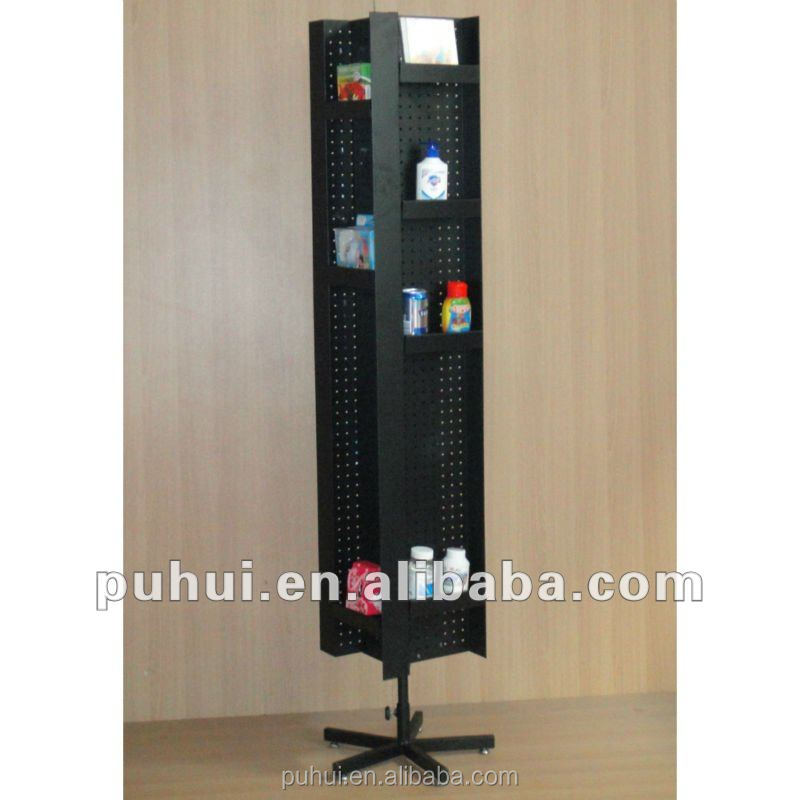 2017 universal metal rotating floor standing pegboard display rack for store promotion
