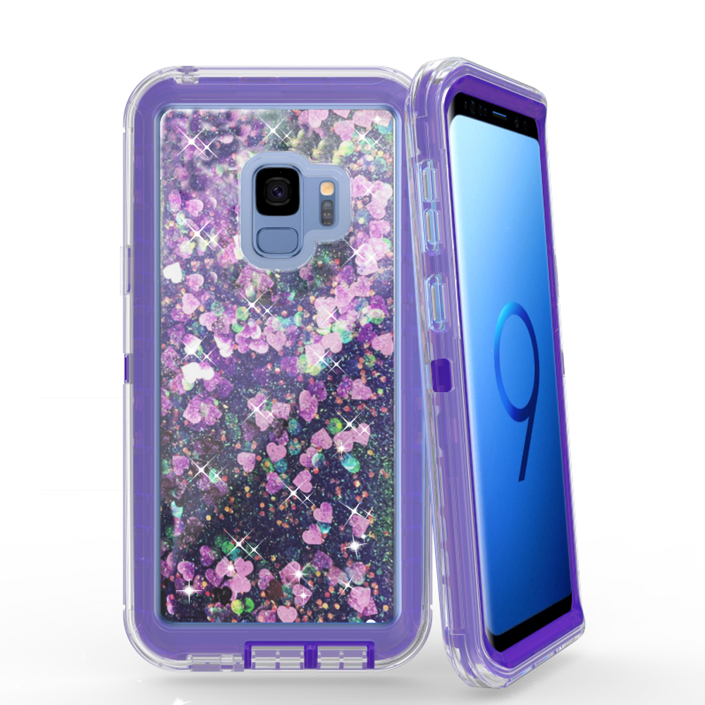 Clear Robot Shockproof Full Defender Clip Liquid Mobile Phone <strong>Case</strong> For Samsung S9 Glitter Quicksand <strong>Cases</strong>