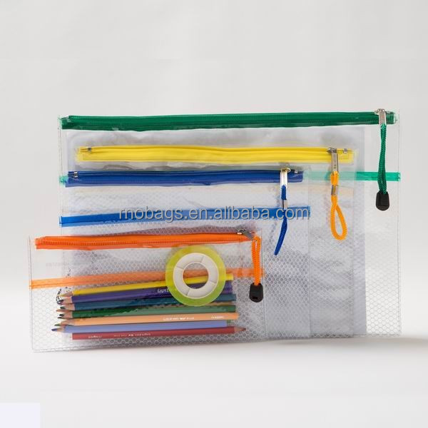 clear plastic PVC zipper mesh pencil pouch
