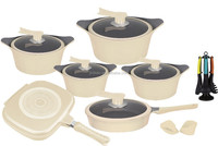 Casting aluminum Ivory color cookware sets with ceramic coated