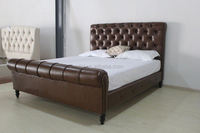 Modern Sleigh Bed with Upholstered Headboard plywood furniture