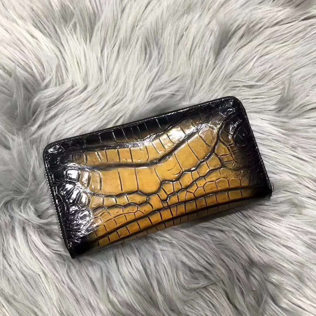 Best Quality Genuine Alligator Belly Skin Leather Zipper Wallet