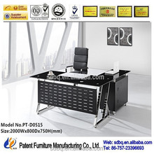 PT-D0502 Factory price high quality elegant executive glass office desk with 12mm thick tempered glass