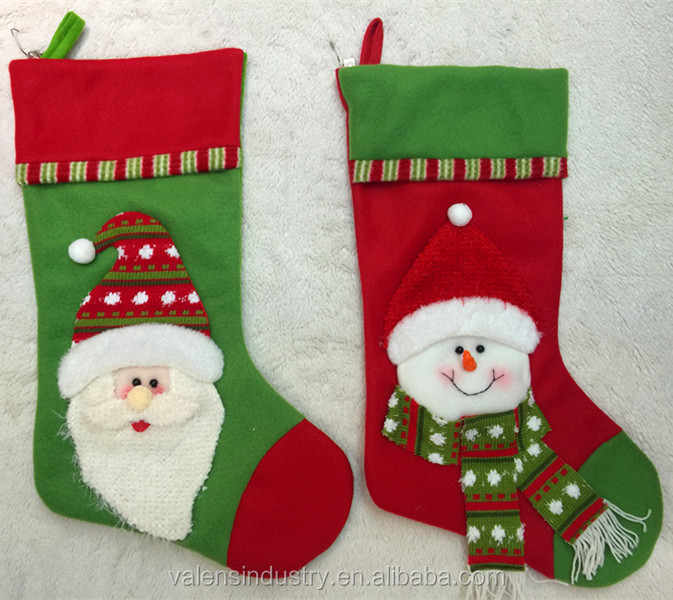 Promotional Fleece Animal Head Santa Claus Christmas Stocking creative lovely christmas gift stocking