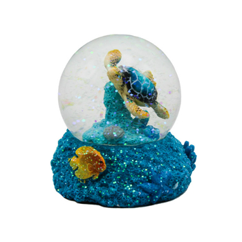 Personalized resin beautiful turtle snow globe for waterland souvenir