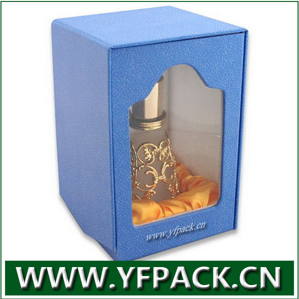 blue leather clear PVC window the middle east perfume packaging box with satin lining inside