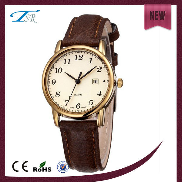 cheap watches for men brown color simple design white band and gold case