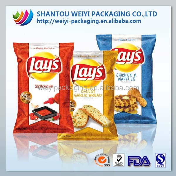 custom clear snack food plastic foil bags for potato chips