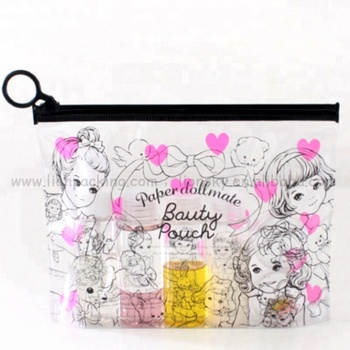 Hot sale portable Plastic Zip Lock Clear Waterproof PVC Mini women Cosmetic Bag with full printing
