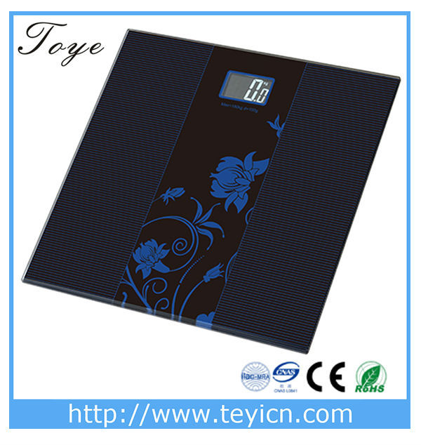 top quality checkweigher 6mm Tempered Glass digital electronic bathroom scale floor scale TY-2013A from TOYE