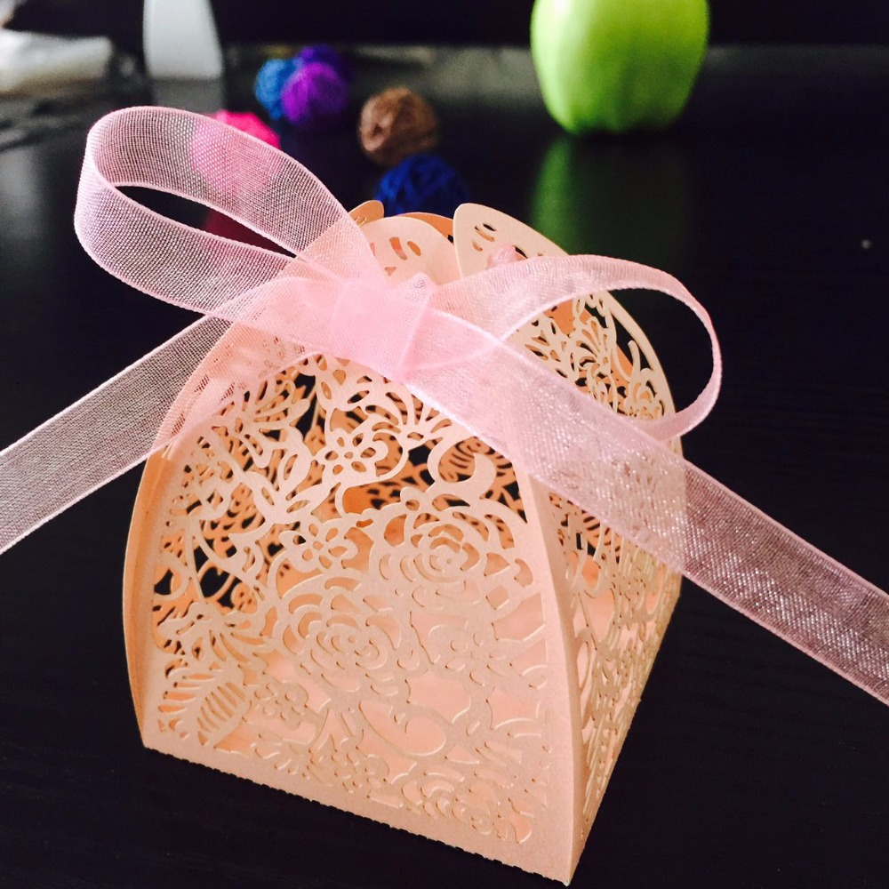 50pcs DIY Laser Cut Lace Flower Design Gift Box Candy Boxes Wedding ...