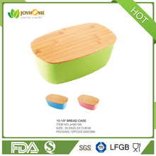 Eco friendly kitchenware bread storage box bamboo fiber bread bin with bamboo lid