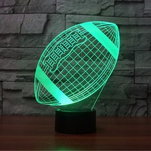 Hot sale in amazon Rugby Football 3D Lamp Optical Illusion Night Light, 7 Color Changing Touch switch Table Desk Lamps