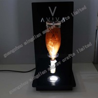 2016 LED acrylic illuminated sparkling gold wine bottle display rotating stands