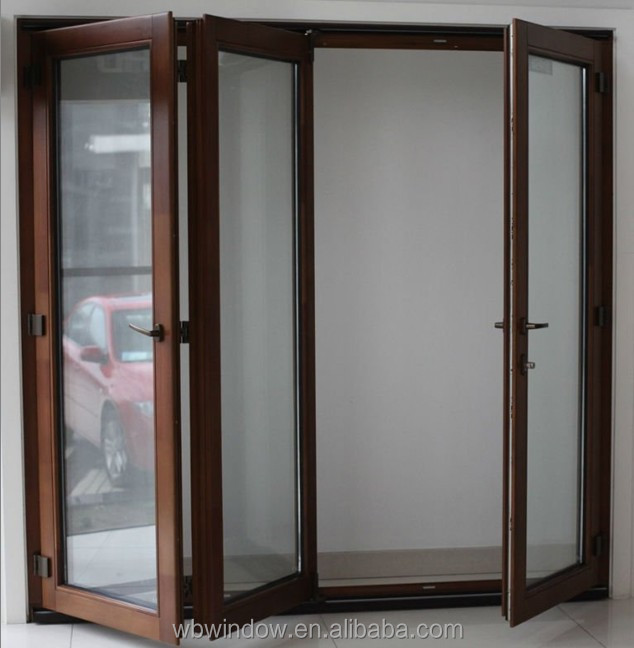 Brown upvc accordion folding doors interior upvc folding for Windows and doors prices