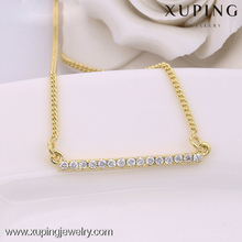 42527 xuping jwelleries necklace, 14k gold plated american diamond necklace sets