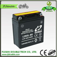 rechargeable valve regulated lead acid battery 12V 5ah, starting 12N5L-BS motorcycle battery, motorcycle parts