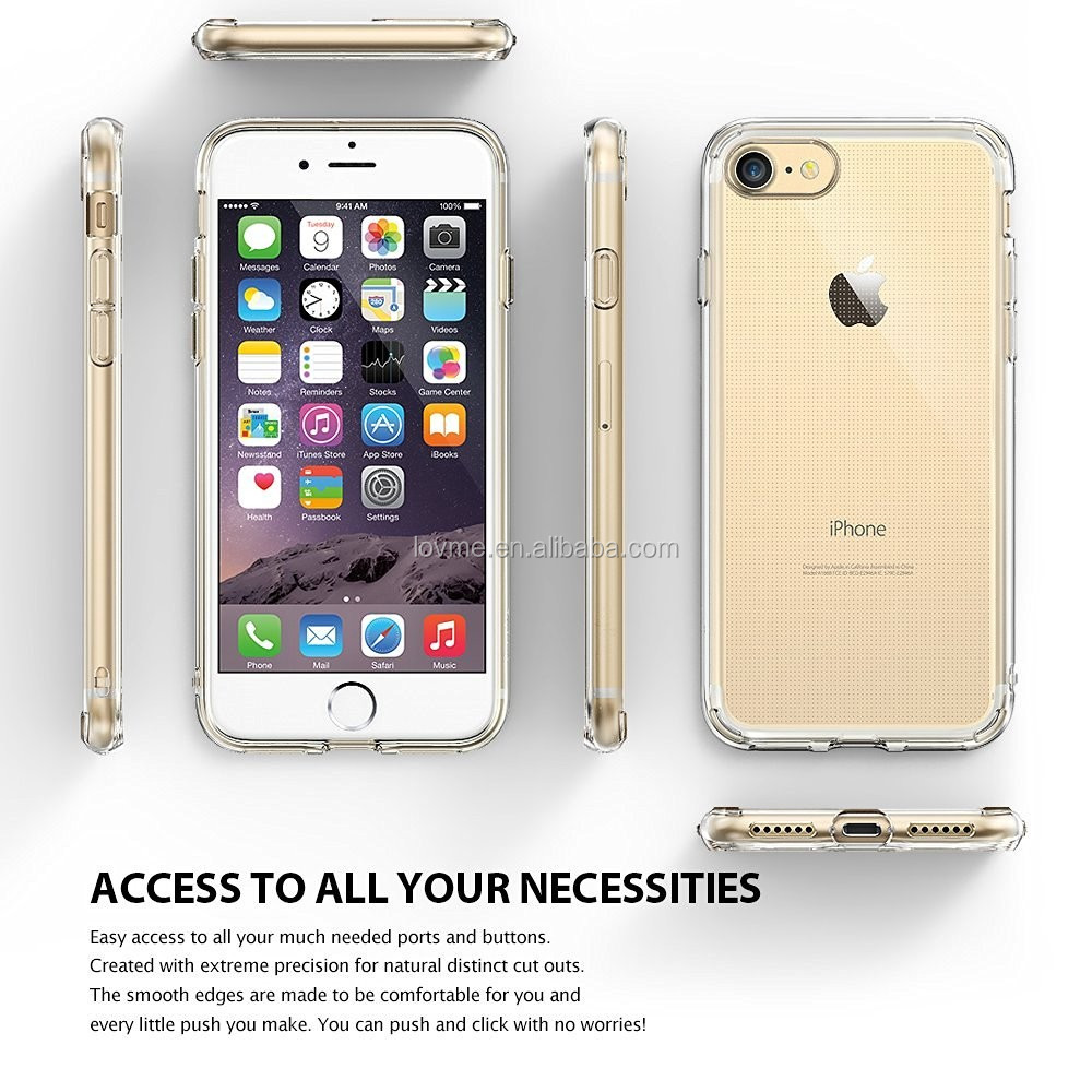 Ultra Slim Transparent Clear TPU Gel Mobile Phone Case Cover For Apple iPhone 7, For iPhone 7 Back Case