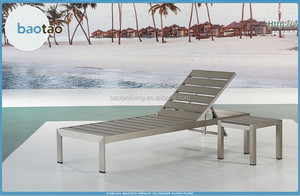 outdoor aluminum polywood daybed with side table/ lounger