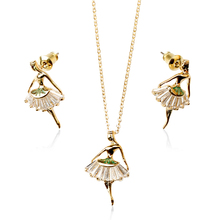High Quality Girl Dancing Enamel Gold Jewelry Set Healing Crystal Earring and Necklace Set