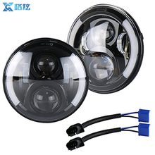 DOT Approved Projector Angel Eye 7Inch Round LED Headlight With DRL Amber Turn Singal Hi/Lo Beam for Jeep Wrangler