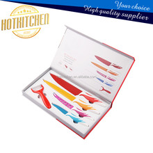 Non-stick color printed stainless steel blade and PP plastic handle 5pcs color box Kitchen Knife set