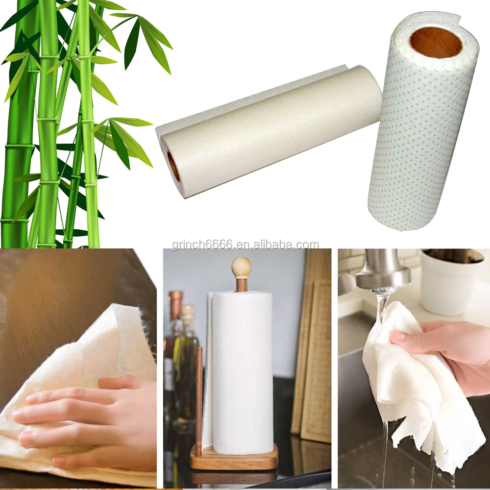 100% bamboo fiber Washable Paper Towels,Bamboo Sweeper Scrubbing Dots,anti-paper towel