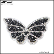 butterfly shape beaded applique patch for dress