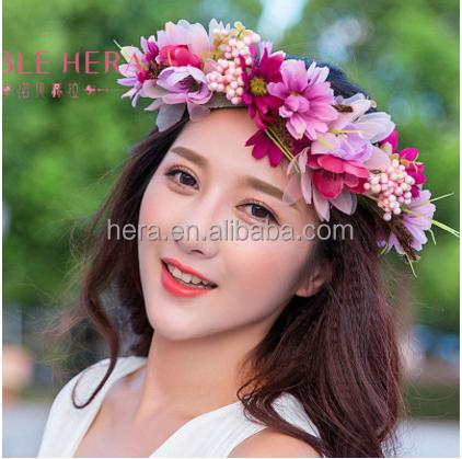 2017 new styl elegant hair accessories beach flower crown fabric flower hair accessories
