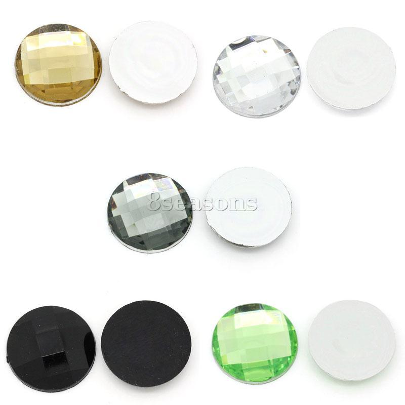 Acrylic Cabochon Round Mixed Faceted 18mm Dia,200PCs