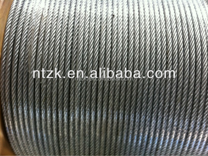 6*12+7FC 3mm to 25mm galvanized or ungalvanized steel wire rope