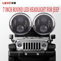 "factory offer 7"" round cr-ee led headlight for jeep wrangler led headlight with angel eye"