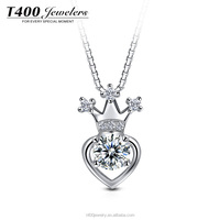 T400 fashion heart shape jewelry swarovski element 925 sterling silver pendant necklace with cubic zircon diamond