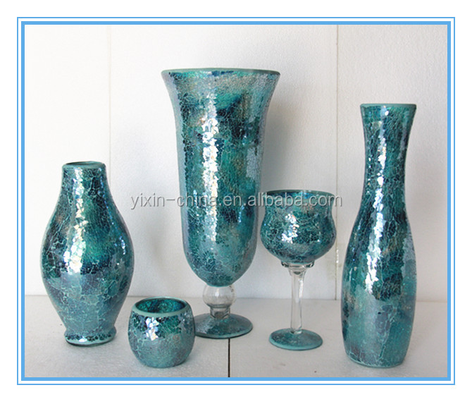 Different Types Glass Mosaic Crackle Glass Flower Vase