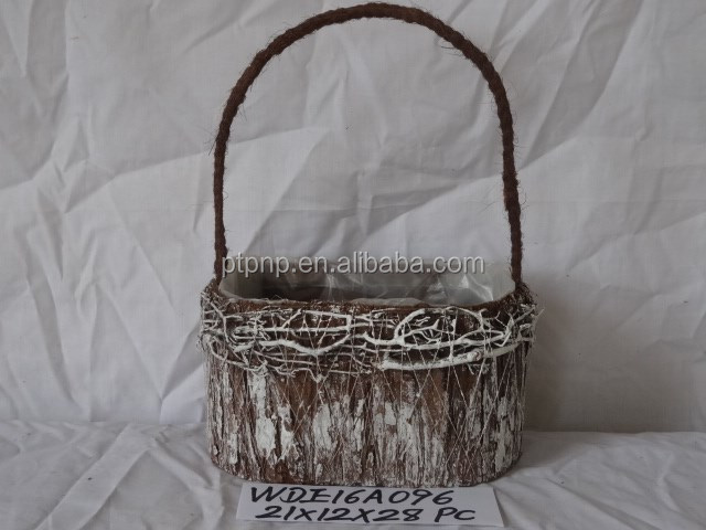 Decorative Moss and Sisal flower pot with handle Material Moss,sisal, grass,cornhusk