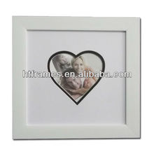 double matted 4x6 heart shape white photo frame