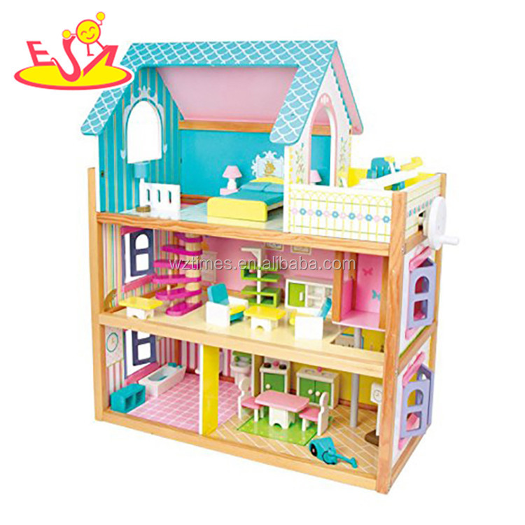 Wholesale beautiful europe style girls wooden crafted dollhouse <strong>toy</strong> W06A231