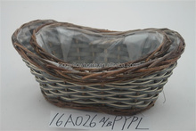 outdoor wicker flower basket Willow Garden gnome basket flowers pots with plastic liners