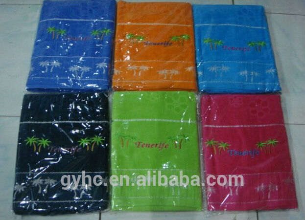 cheap Wholesale velvet jacquard cotton beach towel with embroidery