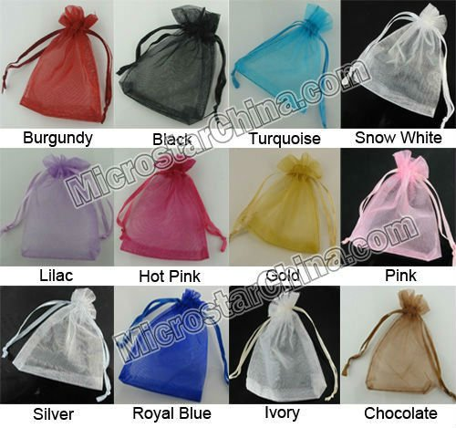 7*9cm In Stock Ribbon Drawstring Organza Bags