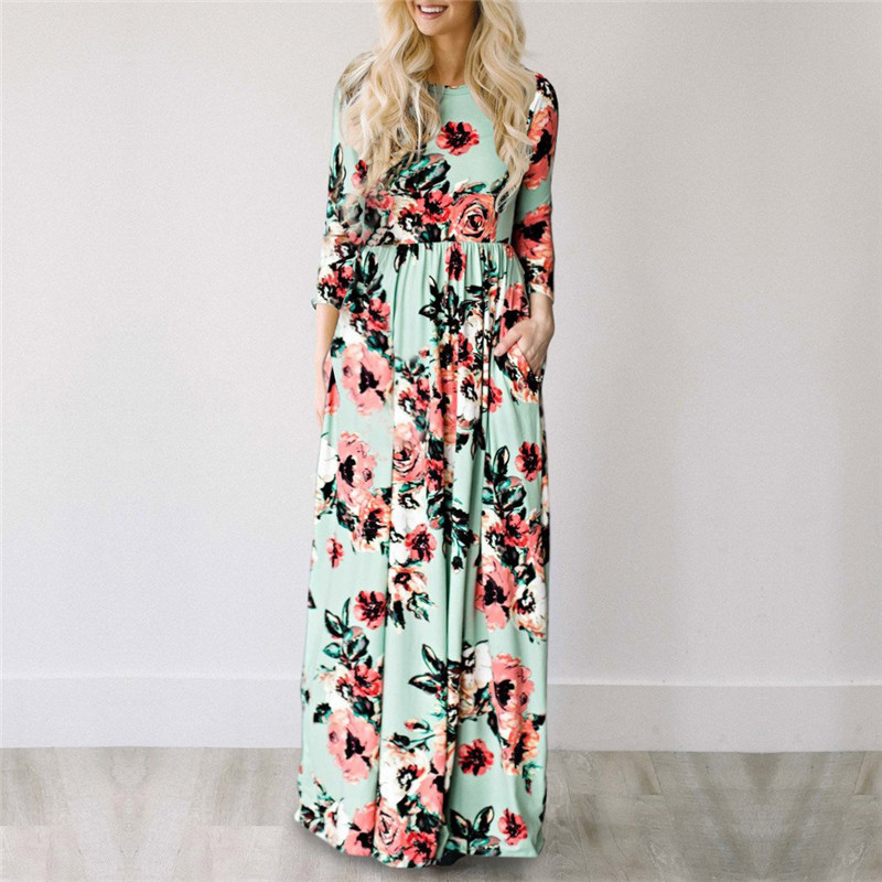 19 Summer Long Dress Floral Print Boho Beach Dress Tunic Maxi Dress Women Evening Party Dress Sundress Vestidos de festa XXXL 12