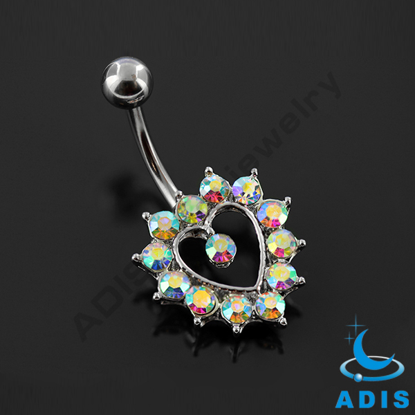 Gold plated body jewelry crystal skull navel piercing belly rings