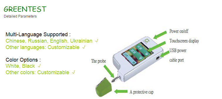 New Hot sale health analyzer, High Resolution Portable food tester for testing nitrate in fruit vegetable