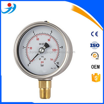 wika en837-1 stainless steel bottom connection glycerin filled pressure gauge