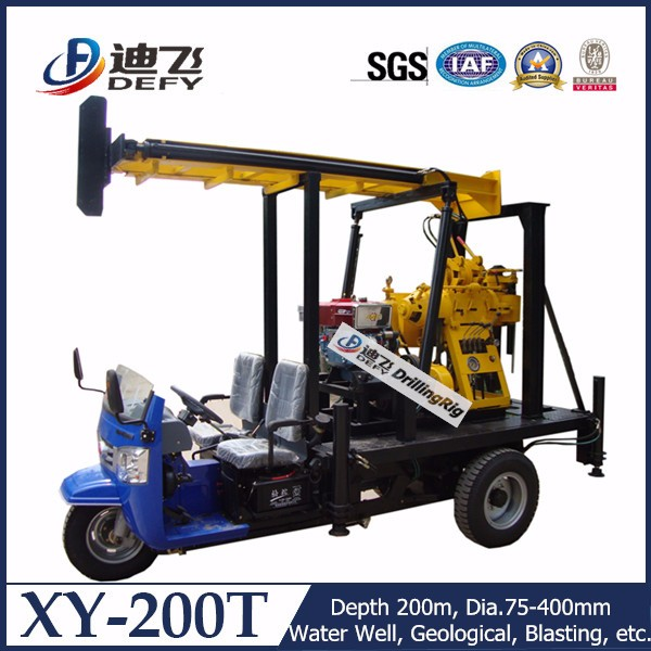 100-200m tricycle mounted used water drilling rig prices
